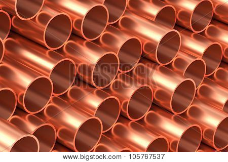 Copper Pipes In Rows Industrial Background
