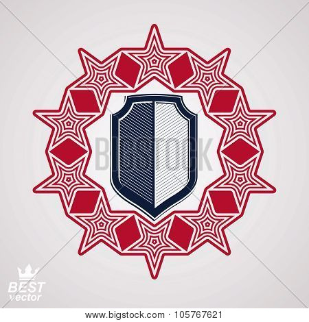 Royal Stylized Vector Graphic Symbol. Shield With 3D Stars Around, Union Theme Blazon.