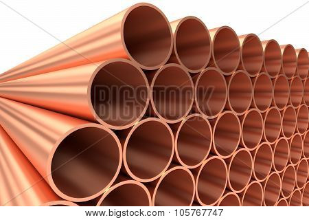 Shiny Copper Pipes In Rows Diagonal View