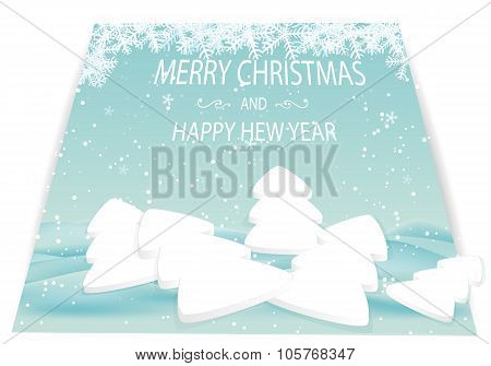 Christmas Card With White Trees And Snow Drifts.