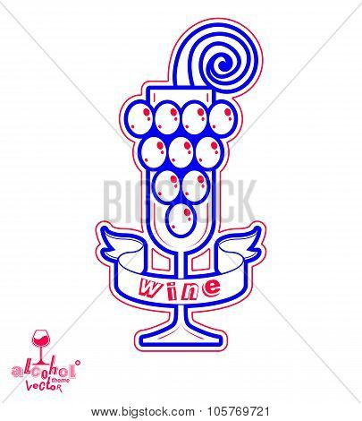 Sparkling Wine Vector Illustration. Stylized Empty Wineglass With Grape Vine And Beautiful Ribbon, R