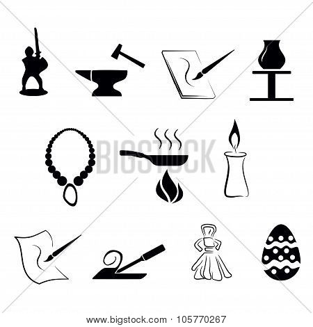 illustration - set of simply isolated traditional craftsmanships/arts black icons
