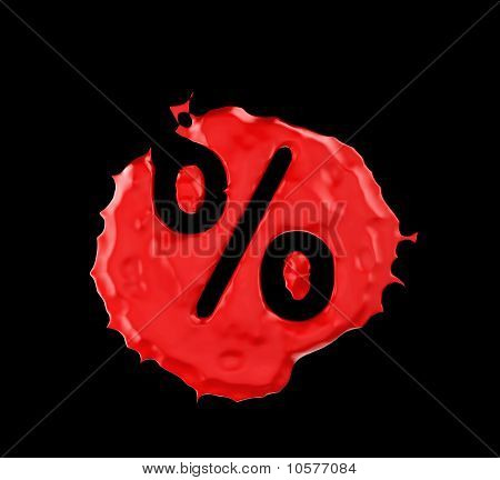 Red Blob Percent Mark Over Black