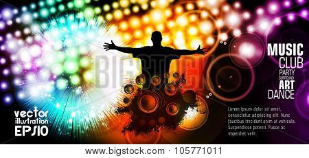Music event illustration. Background for new year poster party, vector