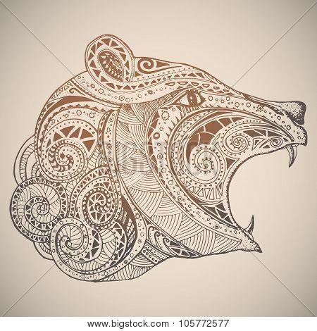 Bear in oriental tribal ornament.