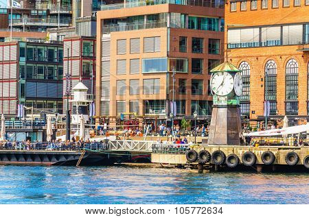 Clock on Aker Brygge Dock, Oslo in Norway