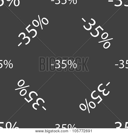 35 Percent Discount Sign Icon. Sale Symbol. Special Offer Label. Seamless Pattern On A Gray Backgrou