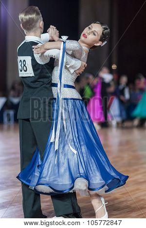 Minsk, Belarus -september 27, 2015: Demianenko Vitalii And Tikhaya Polina Perform Perform Juvenile-2