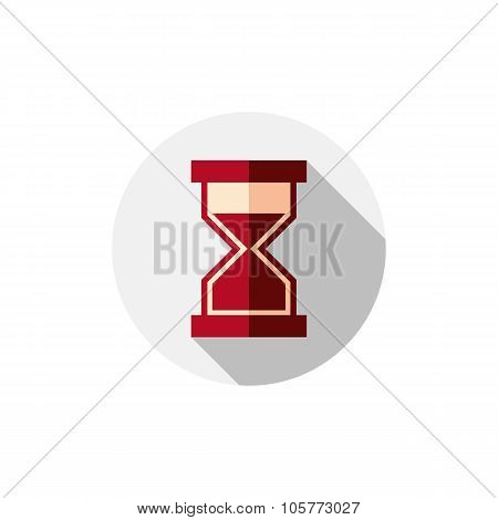 Time Conceptual Stylized Icon. Old-fashioned Hourglass Isolated On White, Stylish Clock Pictogram.