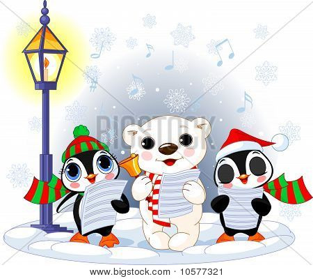 Christmas carolers -  polar bear and two penguins