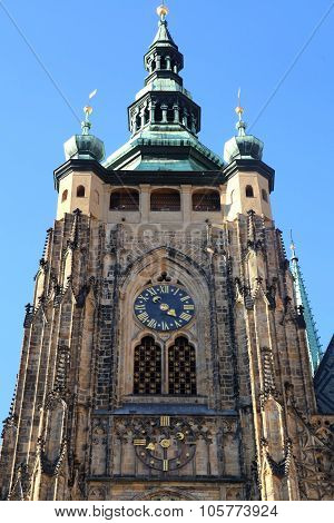 Clock Tower Of St. Vitus Cathedral In Prague Castle