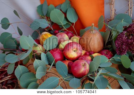 Apples and pumpkins fall decoration