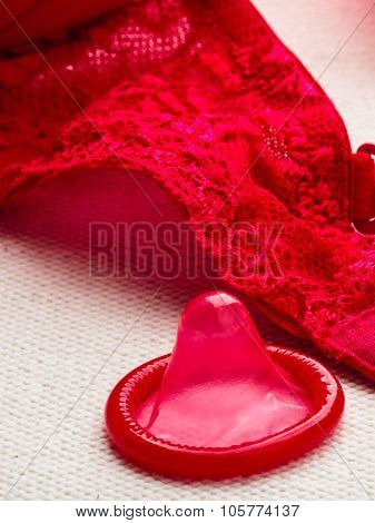 Condom With Lace Lingerie.