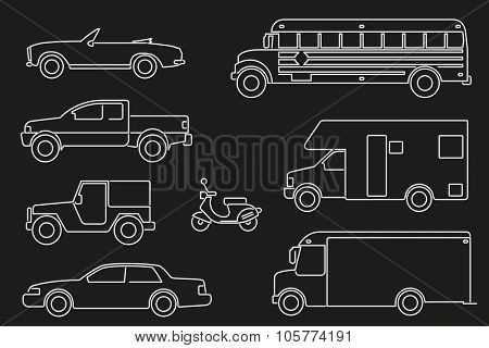 Set of eight motor vehicle illustrations, modern line icon style, white on black