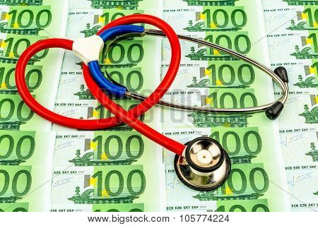 stethoscope and euro banknotes. photo icon for health care costs and for health insurance companies and medical