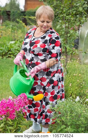 Senior pensioner woman with watering can at dacha