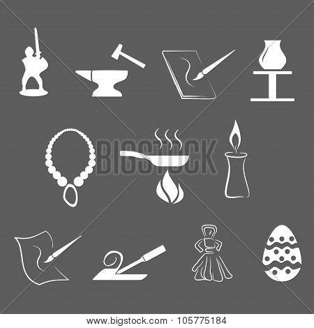 illustration - set of simply isolated traditional craftsmanships/arts white icons