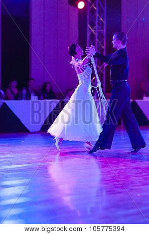 Minsk, Belarus - September 27, 2015: Artsem Kazyra And Anastasiya Veslova Perform Vip Show Case Danc