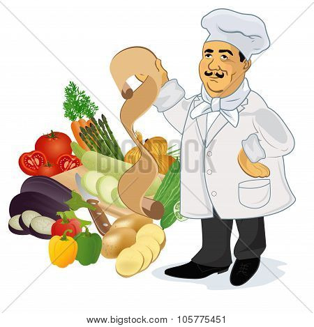 Chef cook with recipe and popular vegetables, vector illustration