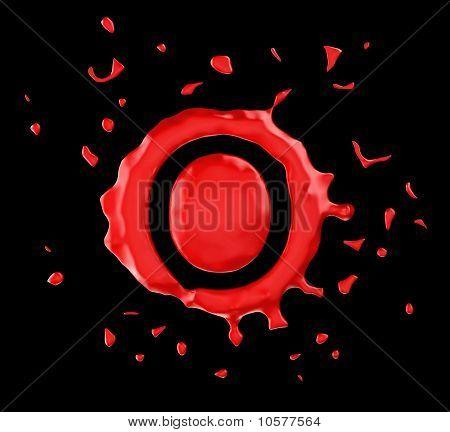 Red Blot O Letter Over Black Background