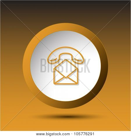 open mail with handset. Plastic button. Raster illustration.