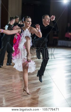 Minsk, Belarus-september 27, 2015: Pustchin Aleksey And Makovskaya Valeriya Perform Juniors-2 Latin