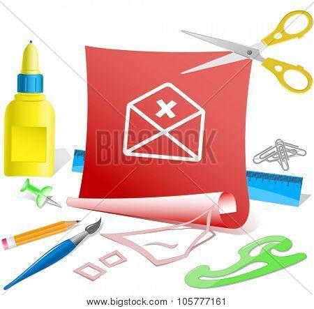 mail cancel. Paper template. Raster illustration.