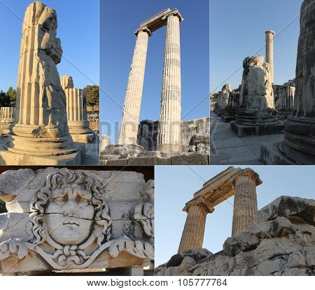 The ruins of an ancient temple of Apollo in Didim, Turkey