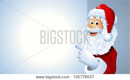 Vector portrait of Santa Claus showing billboard