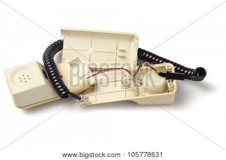Broken Old Telephone Handset on White Background