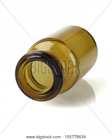 Open Glass Bottle Lying on White Background