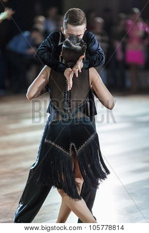Minsk, Belarus-september 27, 2015: Unidentified Dance Couple Performs Juniors-2 Latin -american Prog