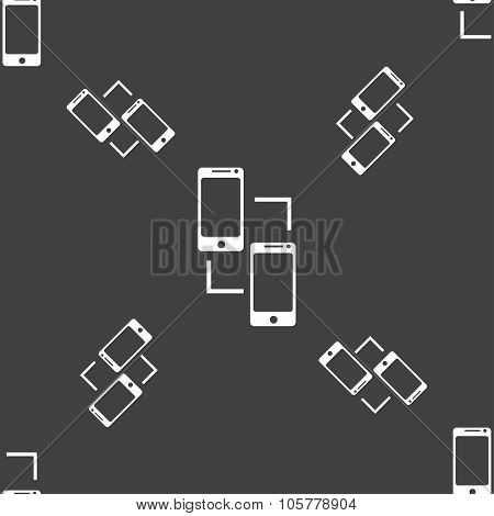 Synchronization Sign Icon. Communicators Sync Symbol. Data Exchange. Seamless Pattern On A Gray Back