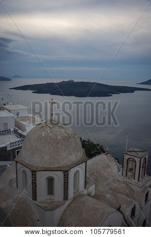 White Church And A View Of The Caldera Of Santorini