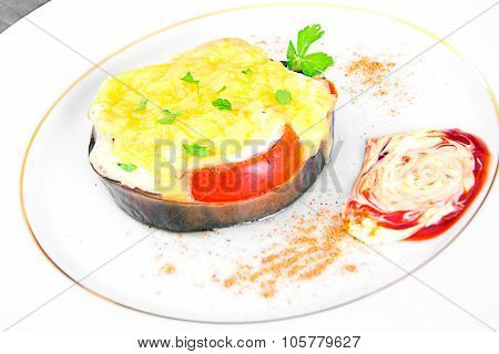Diet and Healthy Food: Braised Eggplant with Tomato and Cheese.