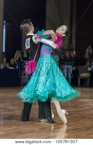 Minsk, Belarus-september 27, 2015: Lukashov Nikita And Kruisberg Sandrina Perform Juvenile-1 Standar