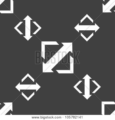 Deploying Video, Screen Size Icon Sign. Seamless Pattern On A Gray Background. Vector