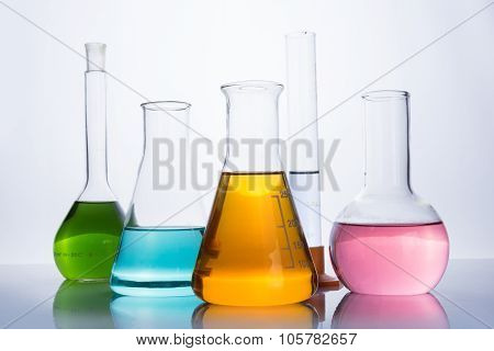 Chemistry Laboratory Equipment, Flasks And Test Tube