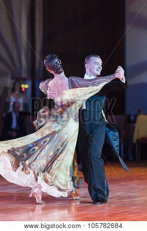 Minsk, Belarus - September 27, 2015: Professional Russian Couple Perform Pro-am Standard European Pr