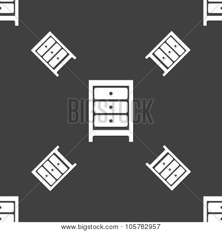 Nightstand Icon Sign. Seamless Pattern On A Gray Background. Vector