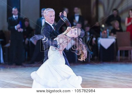 Minsk, Belarus - September 27, 2015: John Gusenhoffer And Irina Lobanova (usa) Perform Pro-am Standa