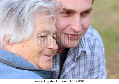 Elderly Person And Grandson