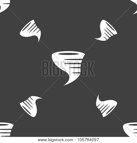 Tornado Icon. Seamless Pattern On A Gray Background. Vector