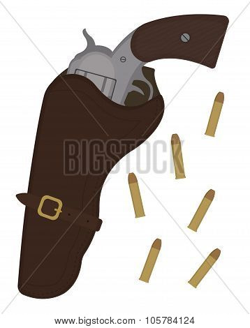 Wild west revolver in leather holster with bullets