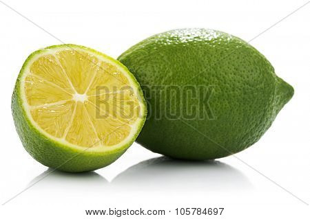 External and internal surfaces of lemon isolated on white background.