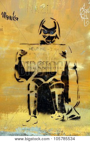 : Street art Darth Vador vietman war veteran