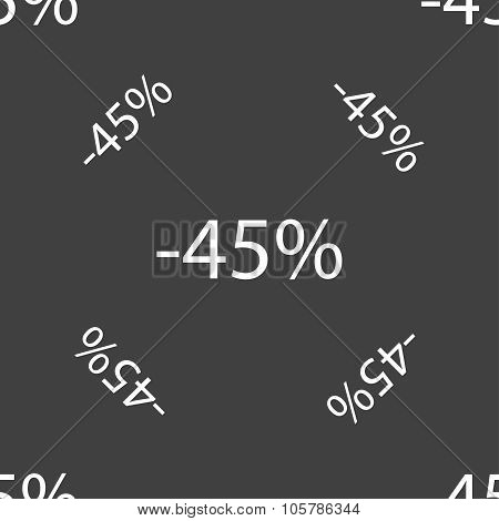 45 Percent Discount Sign Icon. Sale Symbol. Special Offer Label. Seamless Pattern On A Gray Backgrou