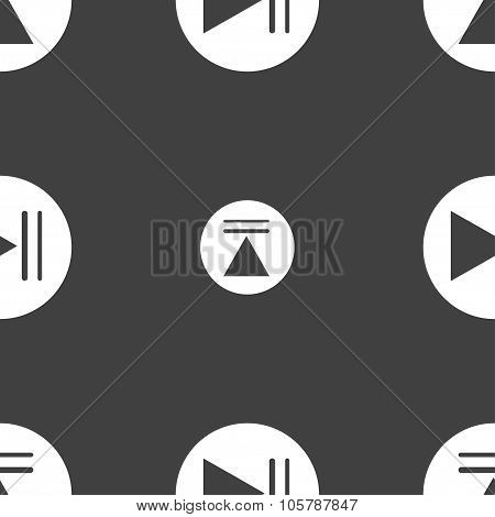 Play Button Icon. Seamless Pattern On A Gray Background. Vector
