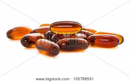 Lecithin supplement product capsules isolated on white background