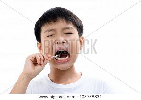 Boy Use Toothpick